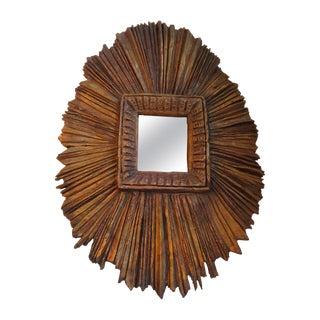 Primitive Sunburst Mirror For Sale