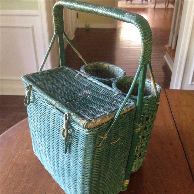 Vintage Green Wicker Picnic Basket - Image 11 of 11