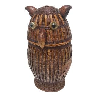 Vintage Boho Chic Style Lidded Cane Owl Basket For Sale