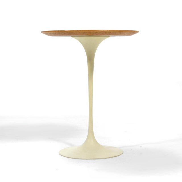 Metal Eero Saarinen Tulip Side Table With Oak Top by Knoll For Sale - Image 7 of 10