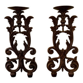 Antique Late 18th C. Victorian Cast Iron Candle Holders - a Pair For Sale