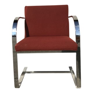 Vintage Mid Century Milo Baughman Red and Steel Arm Chair For Sale