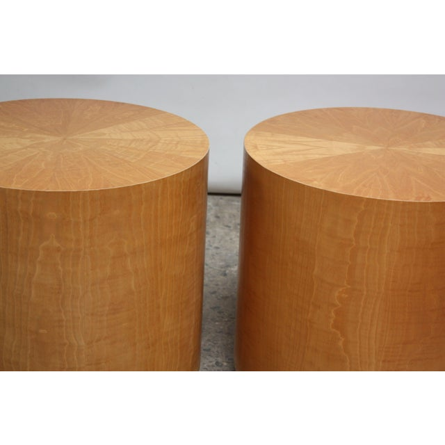 Pair of Large Bookmatched Bird's-Eye Maple Drum Tables - Image 7 of 7