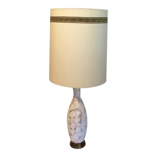 Mid-Century Modern Tall Textured Pitted Ceramic Lamp With Original Shade For Sale