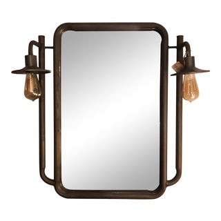 Vintage Farm Inspired Lighted Mirror For Sale