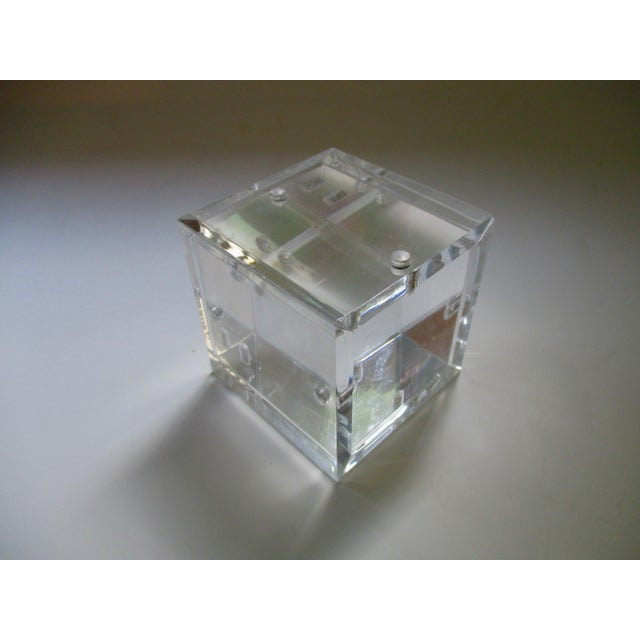 Lucite Cube Paperweight Picture Frame - Image 2 of 9