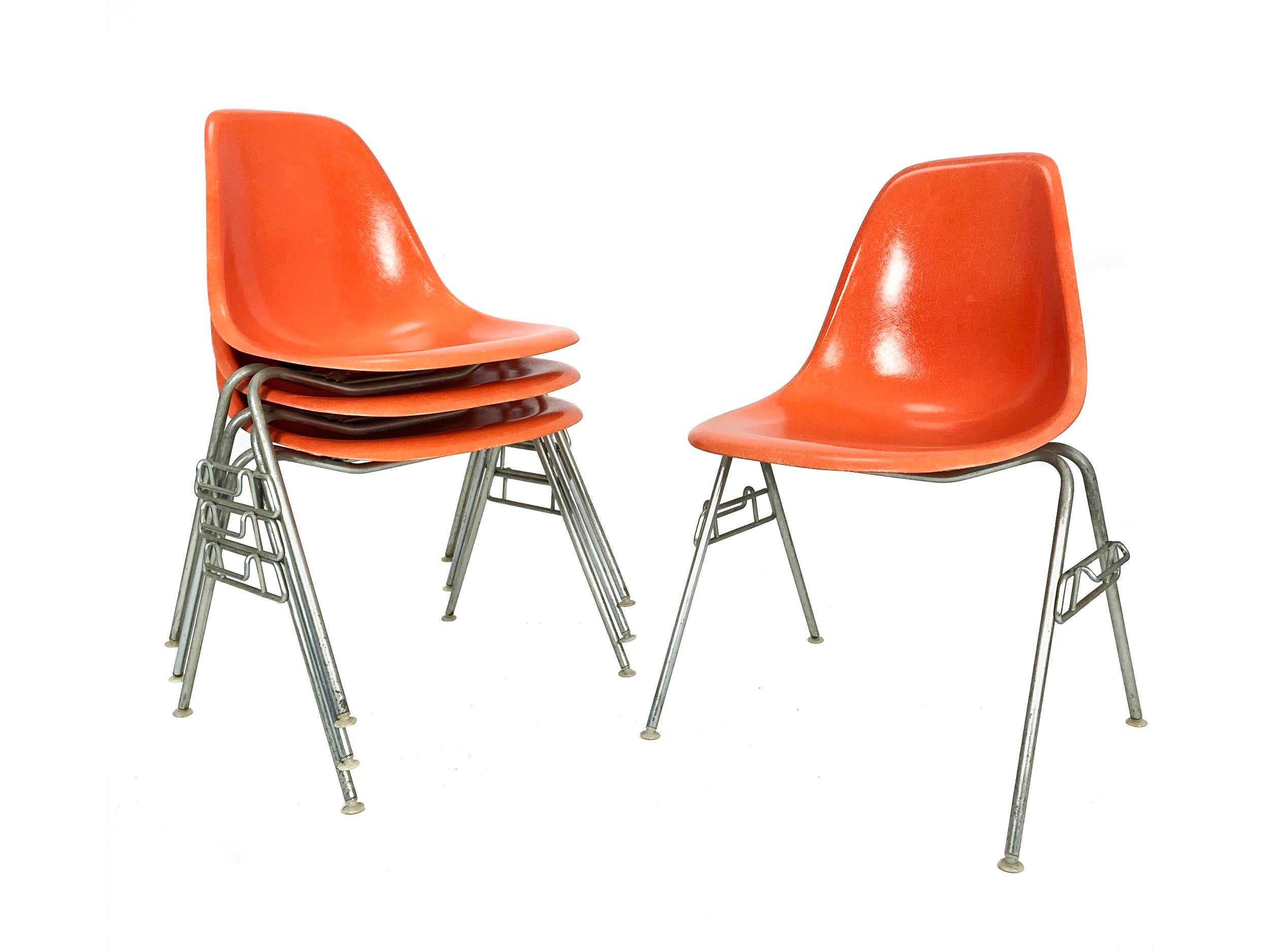 Vtg Authentic Herman Miller Eames DSS Stackable Chair Bases Narrow Mount 4 Avail