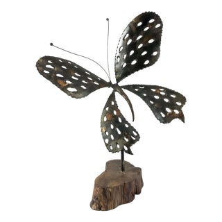 1970s Vintage Signed Brutalist Butterfly Sculpture For Sale