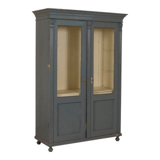 19th Century Swedish Blue Painted Display Cabinet For Sale