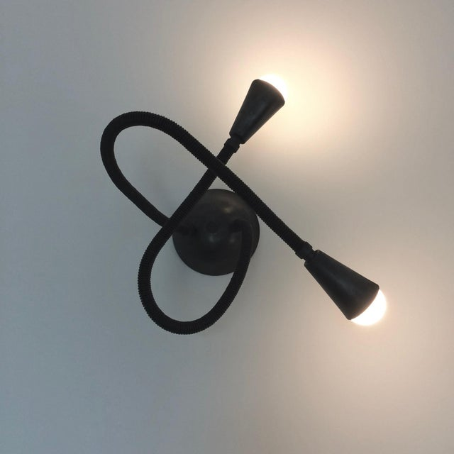 Avantgarden Meander Black Leather Flexible Arm Wall Sconce For Sale - Image 4 of 6