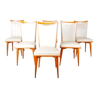Vintage Set of 6 French Art Deco Style Beech Wood Dining Chairs For Sale