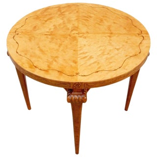 1920s Art Deco Table in Highly Figured Golden Flame Birch Wood Center Table For Sale