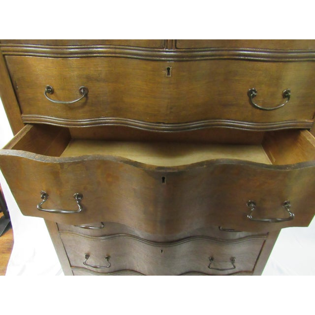 Gold 1900s Traditional Oak Highboy Dresser With Mirror For Sale - Image 8 of 12