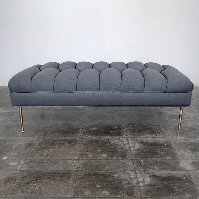 Foundation Shop Henri Grey Leather Bench For Sale - Image 4 of 4