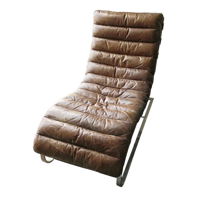 Restoration Hardware Leather Chaise - Image 1 of 6