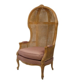 Vintage Hand-Carved Cane High-Back Hooded Chair For Sale