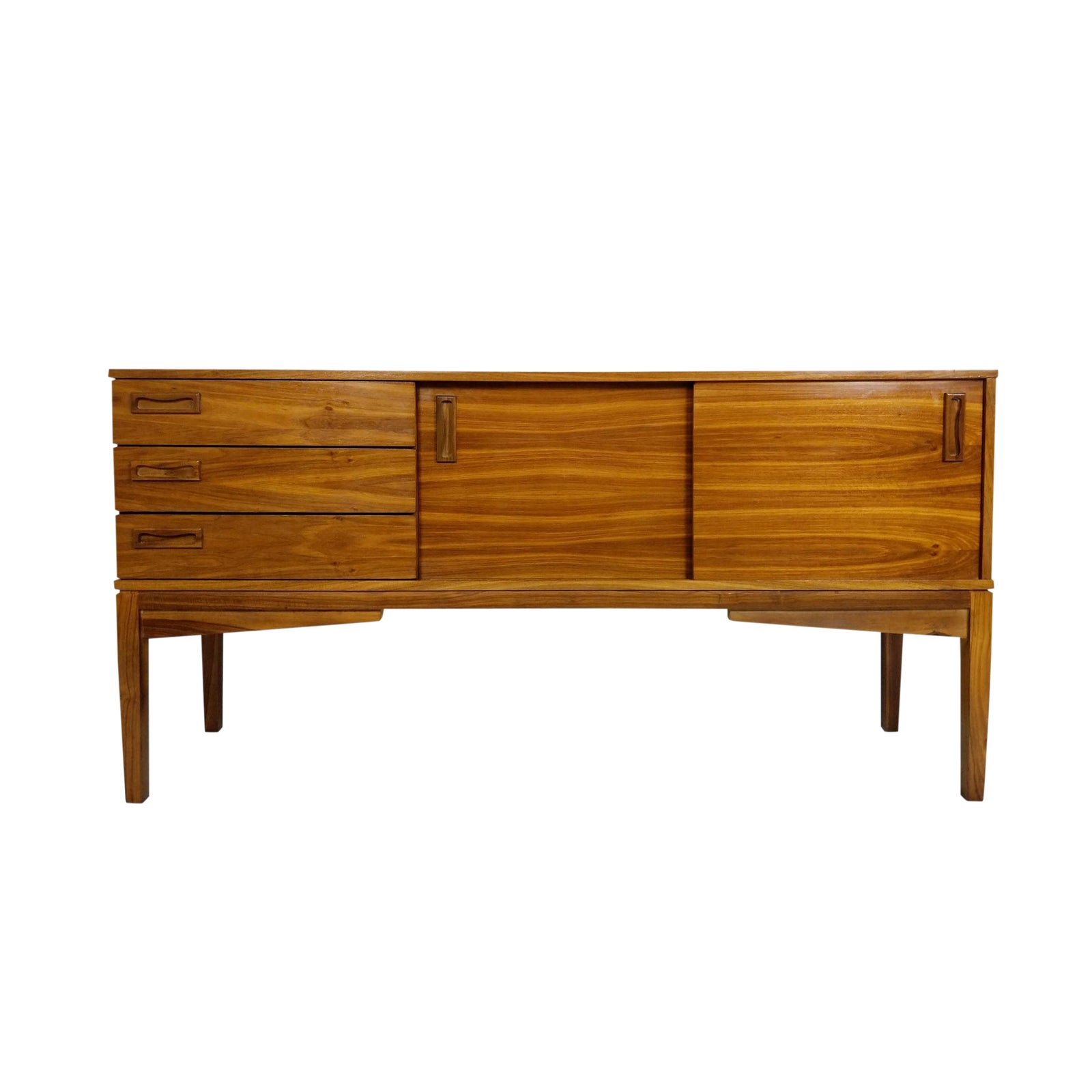 Mid century credenza or media console with sliding doors chairish
