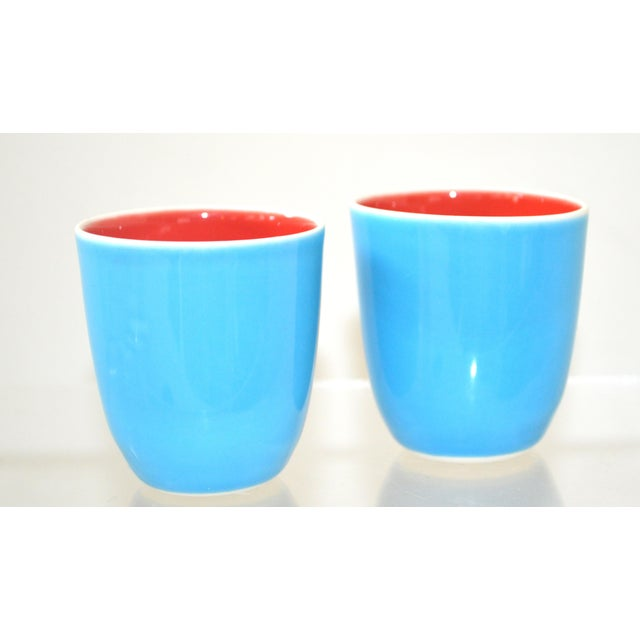 Ceramic Japanese Fine Porcelain Sake Flask and Cups - Set of 4 Turquoise Blue Red and White For Sale - Image 7 of 12