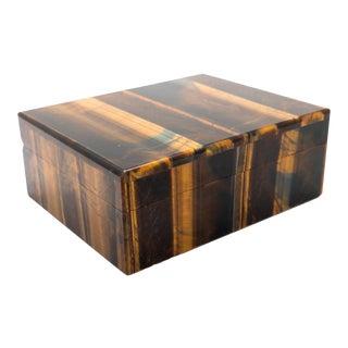 Tiger's Eye Semi-Precious Stone Box For Sale