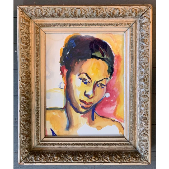 Original 1970's Vintage Watercolor Ethnic Female Figure Painting For Sale - Image 4 of 4