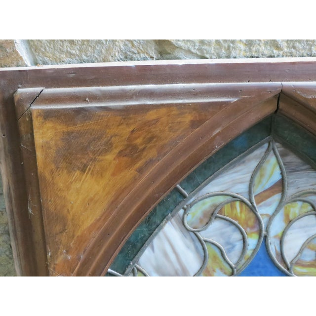Metal Late 19th Century Vintage Wheat and Sickle Gothic Leaded Stained Glass Window For Sale - Image 7 of 8