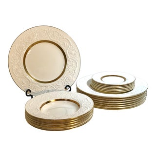 Vintage Wedgwood Patrician Pattern Dishes With Gold Rim - Set of 19 For Sale
