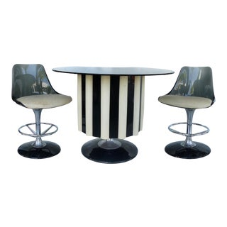 Chromcraft Acrylic & Chrome Dry Bar & Stools - Set of 3