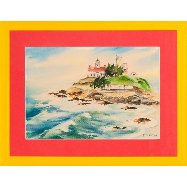 """""""Island Lighthouse, Watercolor Painting"""" For Sale"""