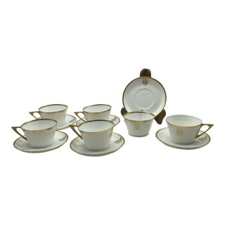 "Early 1900s Porcelain 14k Gold Monogramed ""D"" Cups & Saucers - Set of 6 Hollywood Regency Style For Sale"