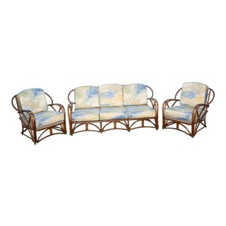 Restored Mid-Century Vintage 1950s Rattan Sofa and Chairs Set For Sale