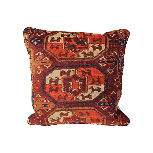 Boho Chic Antique Turkish Rug Pillow For Sale - Image 3 of 4