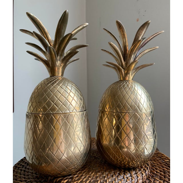 Boho Chic 1960s Vintage Solid Brass Lidded Pineapple Containers - A Pair For Sale - Image 3 of 10