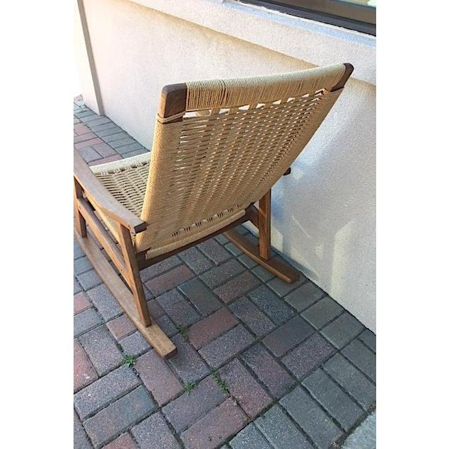 Hans Wegner Hans Wegner Style Rope Rocking Chair For Sale - Image 4 of 5