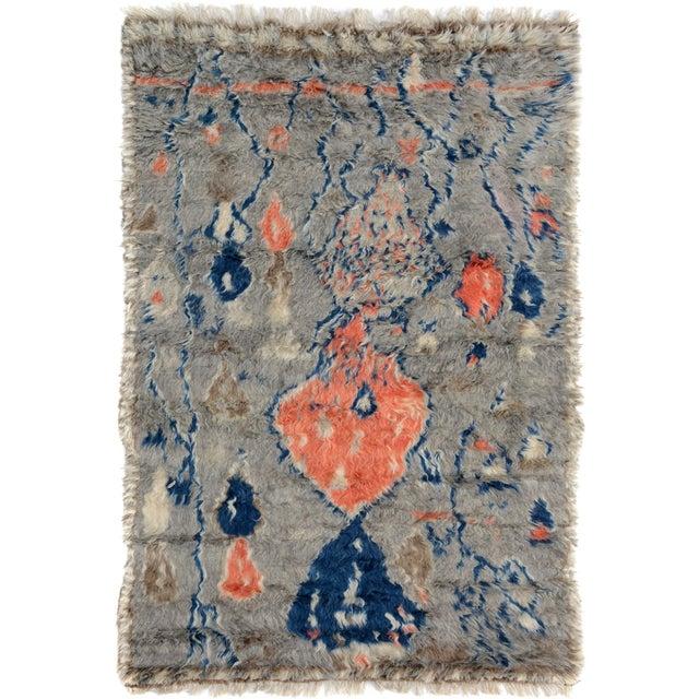"Moroccan Arya Brendon Gray & Blue Wool Rug - 4'8"" x 6'9"" - Image 8 of 8"