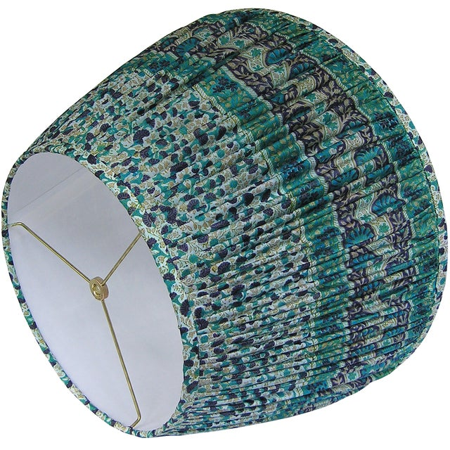 Boho Chic Teal/Navy Silk Sari Lamp Shade For Sale - Image 3 of 4