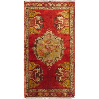 1950s Vintage Tribal Turkish Oushak Petite Rug - 1′10″ × 3′5″ For Sale