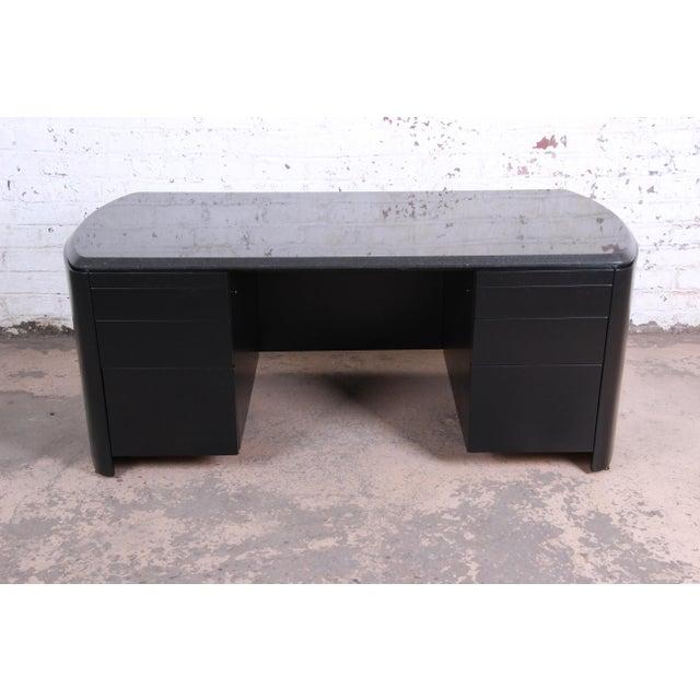 Dunbar Mid-Century Ebonized Granite Top Executive Desk ...