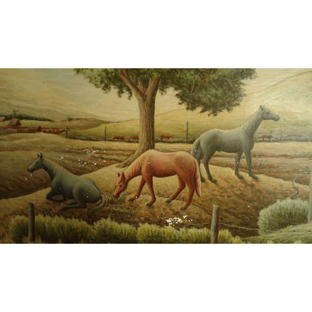 1952 Aaron Pyle Landscape With Horses Regionalist Painting For Sale - Image 4 of 11