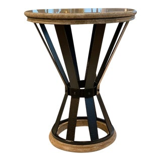 Jonathan Charles Iron Round Marble Table For Sale