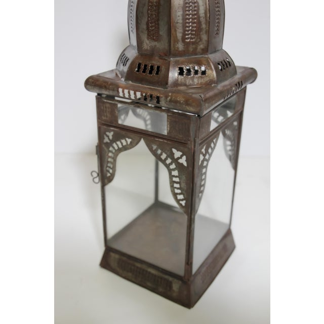 Moroccan Moorish Square Metal and Clear Glass Candle Lantern For Sale In Los Angeles - Image 6 of 13