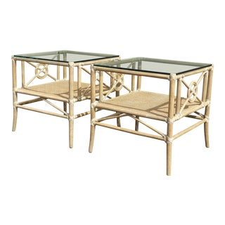 Vintage McGuire Furniture Bamboo & Rattan Glass Top End Tables - a Pair