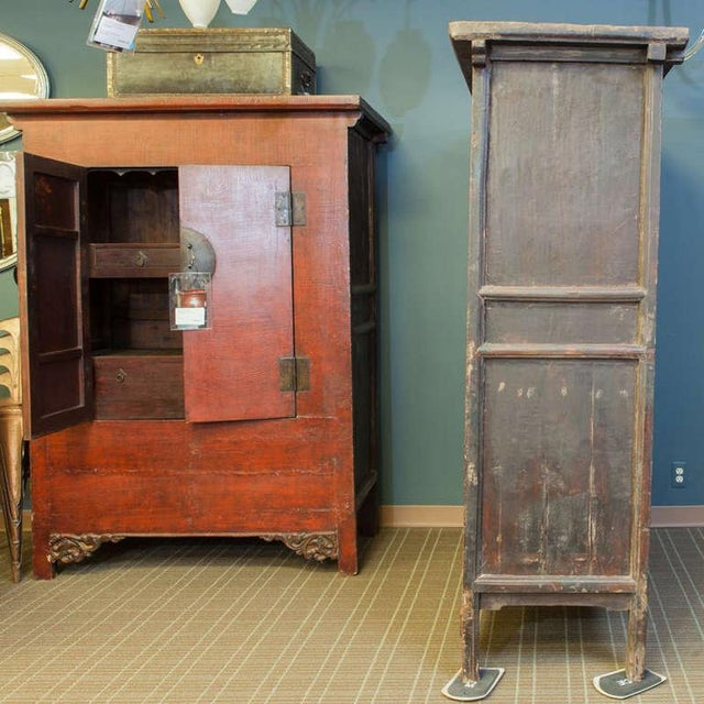 Tall Chinese Red Lacquer Two Drawer Cabinet For Sale In Detroit - Image 6 of 6