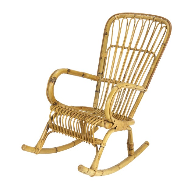 1950s Franco Albini Style Rattan Bamboo Rocking Chair - Image 1 of 5