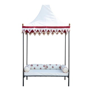 Indian Red Paisley Iron Marathas Canopy Daybed For Sale