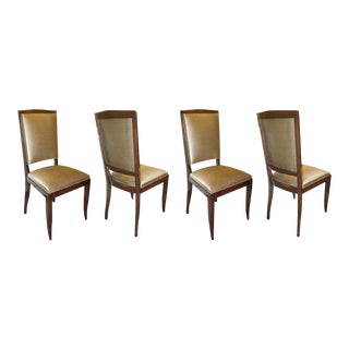 Set of 4 Art Deco Mahogany and Bronze Colored Scalamandre Silk Dining Chairs For Sale