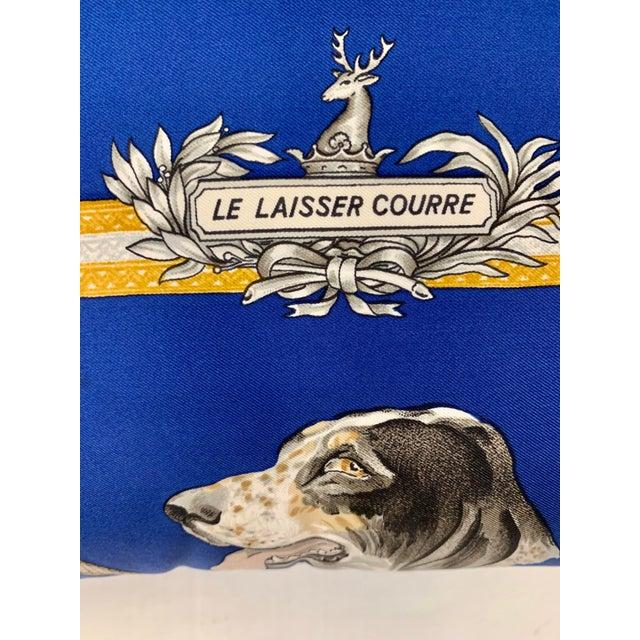 Silk Hermès Paris Blue Silk Scarf Fox Hunt Pillow For Sale - Image 7 of 8