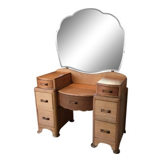 1940s Vintage Solid Oak Vanity With Mirror For Sale