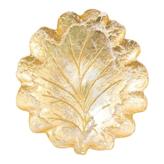 Kenneth Ludwig Chicago Moon Glass Leaf Plate For Sale