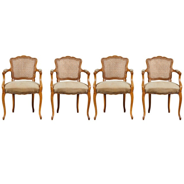 19th Century Louis XV Style Caned Armchairs - Set of 4 For Sale - Image 11 of 11