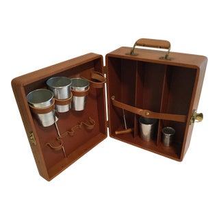 Vintage Leather Portable Liquor Travel Bar For Sale